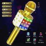 Kids Karaoke Machine Toy Microphone, Tesoky Wireless Bluetooth LED lights Microphone Portable...