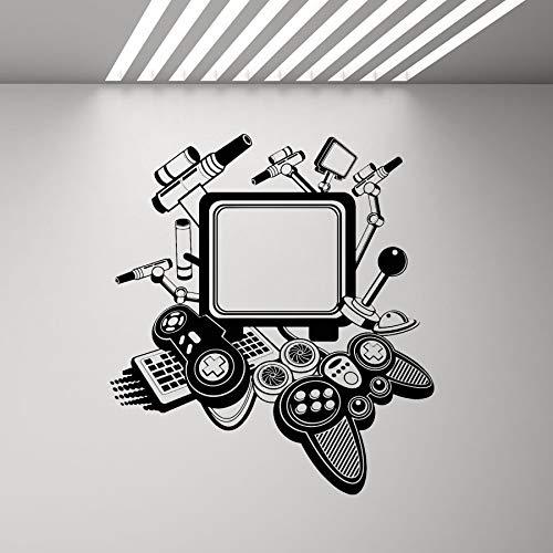 Vintage Computer Wandkunst Aufkleber Spieler Spiel Joystick coole Dekoration Vinyl Aufkleber Wandbild Junge Schlafzimmer nach Hause kreative Wandaufkleber Dekoration A5 57x63cm