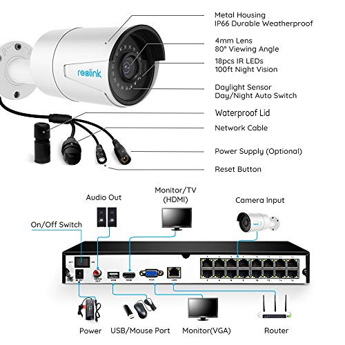 Reolink 4MP 16CH PoE Video Surveillance System, 8pcs Wired Outdoor 1440P PoE IP Cameras, 5MP 16-Channel NVR with 3TB HDD for Home and Business 24/7 Recording, RL   K16-410B8