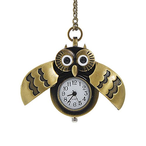 TrifyCore Reloj de Bolsillo del búho de Bronce con Collar d