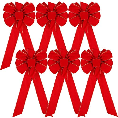 Christmas Bows Red Velvet Bows Gold Wired Edge Riibon Bows Christmas Wreath Bows for Christmas Home Decor Christmas Tree Decoration (6)