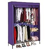Portable Clothes Closet Non-Woven Fabric Wardrobe with Double Rod Shelves Freestanding Storage Organizer Wardrobe