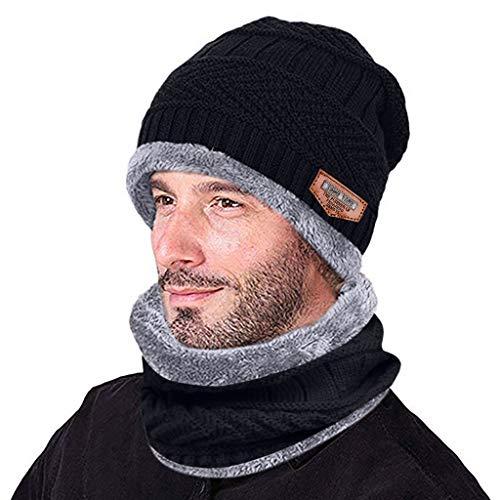 Evansamp Wintermütze Beanie, Männer Strickmütze Warme Mütze Winter Verdicken Mütze und Schal Zweiteilige Strickmütze Winddicht (Schwarz, Free)