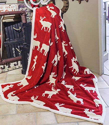 Centesimo Web Shop Plaid AGNELLATO 130x160 cm SHEEPA Agnello Tirolese Rosso Bianco Renne Inverno Natale LK -