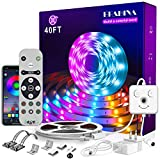 Epabina LED Strip Lights 40ft/12m,Color Changing RGB LED Light Strips with Remote ,'Smile Face'Controller and Bluetooth APP Controlled Music Sync LED Lights for Bedroom Home Decoration