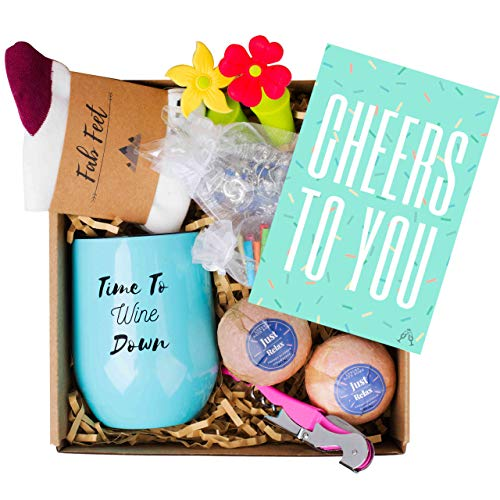 Wine Lovers Gift Basket - 8 Cute Gifts in A Beautifully Prepared Box