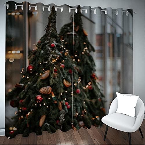 FACWAWF Cortina De Decoración Navideña Patrón De Árbol De Navidad Digital 98D Sala De Estar Decoración De Dormitorio Balcón Habitación De Niños Cortina Insonorizada De Alto Sombreado 2xW140xH245cm