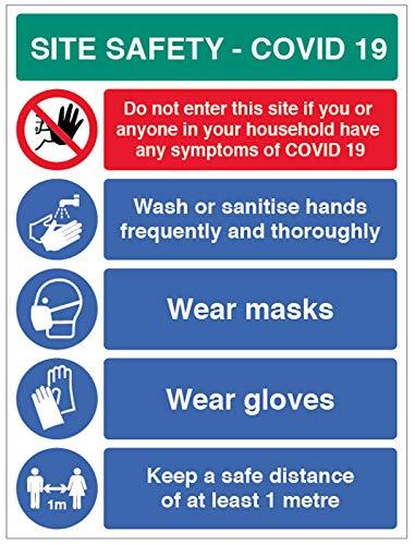 Site Safety COVID19 – lavarsi le mani, indossare le maschere, indossare i guanti, 1 metro, cartello in PVC semirigido (450 x 600 mm)