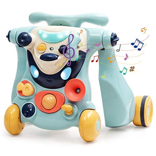 COSTWAY 2 in 1 Lauflernhilfe und Laufrad, Baby Walker, Gehfrei, Laufhilfe, Lauflernwagen, Laufspielzeug, Rutscherauto mit Musik & Licht, für Babys über 6 Monaten (Blau)