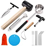 Coconut Opener Tool Set, Safe & Easy to Open Young & Mature Coconuts Tool, Food Grade Stainless Steel Coco Nut Opener Kit with Rubber Mallet Meat Removal, Scraper, Straw & Silicone Mat, ALL IN ONE Bag