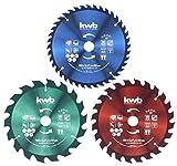kwb - Set di lame circolari per seghe circolari, 165 x 20/16 per seghe a mano, per materiali e materiali da costruzione in legno, con anelli riduttori su 16 e 20 mm