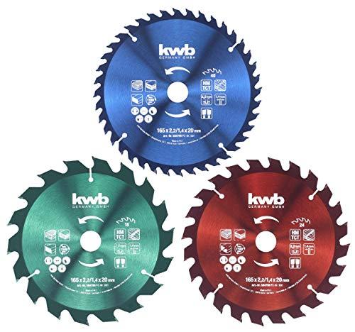 kwb Kreis-Sägeblatt-Set 165 x 20/16 für Handkreis-Sägen, f. Platten-Werkstoffe u. Baustoffe aus Holz inkl. Reduzier-Ringe auf 16 u. 20 mm