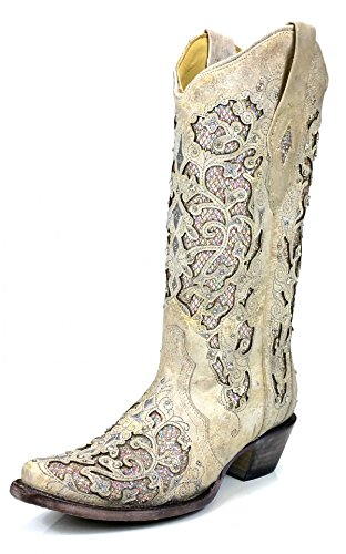 CORRAL A3322 White Leather Glitter Inlay Boot with Crystals (9.5)