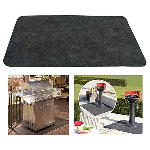 Finlon Gas Grill Mat, Under the Grill Mat Heat Resistant BBQ Gas Grill Splatter Mat Backyard Outdoor Gas Grill Floor Mat Protective Rug for Backyard, Outdoor, Deck & Patio (48'' x 30'')