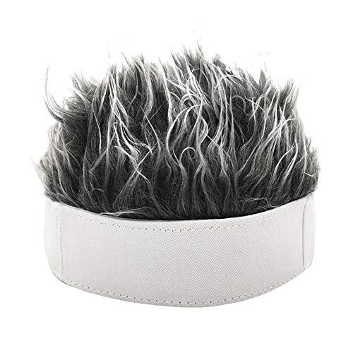 AOLYDA Hut, Männer Retro kurze Perücke Stirnband Hip Hop Hooligan Cap Beanie Cosplay gefälschte Haare Hut - Weiß + Grau