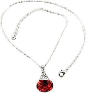 Lily-Crystal P7501 - Collana fatta a mano 'Bohème' arancione corallo argento - 23x14 mm.