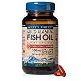 Wiley's Finest Wild Alaskan Fish Oil, Omega 3 530 mg Cholesterol Support, 90 Softgels