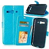 JEEXIA® Funda para Alcatel OneTouch Pop C9, Moda Business Flip Wallet Case Cover PU Cuero con Soporte Cubierta Protectora - Azul