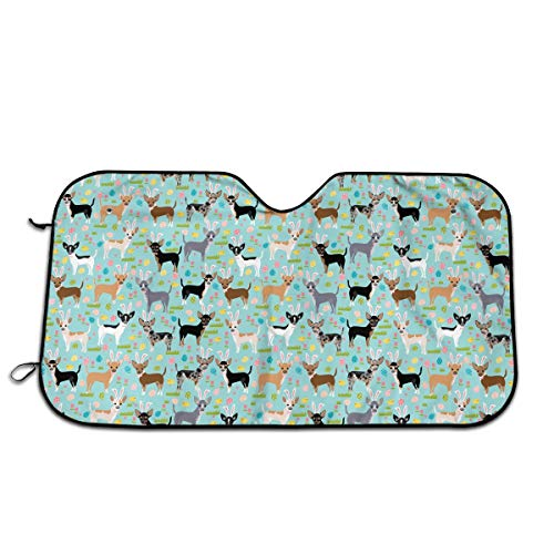 "Label Love Bunny Dogs and Chihuahua Eggs Windshield Sun Shade Sunshades Keep Vehicle Cool Protect Your Car from Sun Heat & Glare Best Uv Ray Visor Protector Size: 27.5""X 51"""