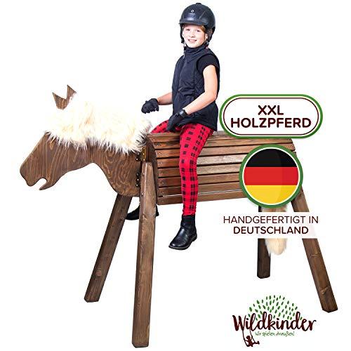 Wildkinder Holzpferd für Draußen - Spielpferd zum Reiten - Fördert Kreativität, Fantasie, Motorik - Handgefertigt in Deutschland - Dunkelbraunes XXL Pferd mit Blonder Mähne - Voltigierpferd