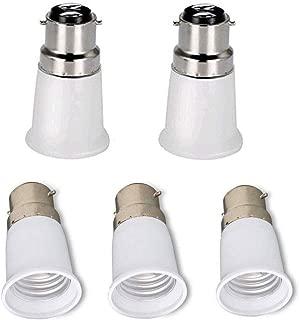 Cozyle B22 to E27 5-Pack Lamp Holder Converter Base Bulb Socket Adapter LED Light ES Edison Screw Adapter Converter White B22->E27