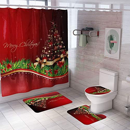 Elegante Cortina de Ducha con diseño de Papá Noel/muñeco de Nieve de Navidad/árbol de Navidad + tapete para...