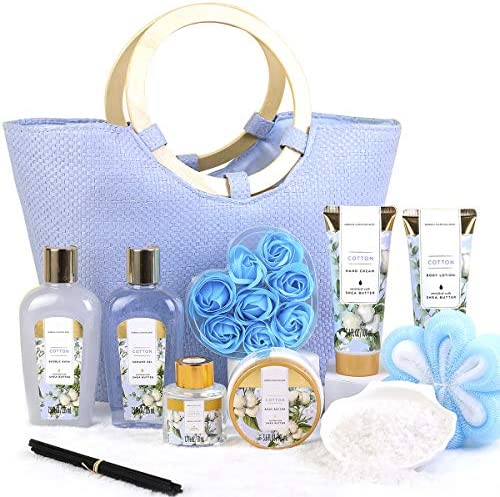 Spa Gift Set for Women 10pcs Cotton Scent Gift Box in Exquisite Tote Bag Shower Gel Bath Salts product image