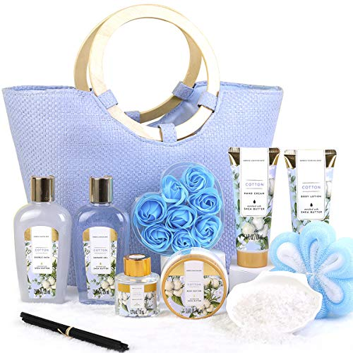 Christmas Gift Set for Women- 10pcs Cotton Scent Gift Box in Exquisite Tote Bag, Shower Gel, Bath Salts, Reed Diffuser, Best Gift Baskets for Women's Valentine, Birthday