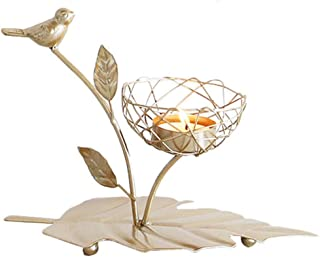 DAN&LAN Tealight Candle Holders Vintage Candlestick Stands Iron Bird Branches Coffee Table Decorative Centerpiece for Housewarming Christmas (C)