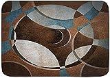 Alfombrilla de baño Alfombras de baño con respaldo antideslizante, Obra de arte geométrica redonda circular contemporánea de estilo vintage, Alfombra de decoración de piso para cocina, dormitorio