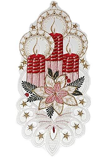 Plauener Spitze Fensterbild 15x35 cm + Saugnapf Advent Weihnachten Kerzen Spitzenbild (Rot)