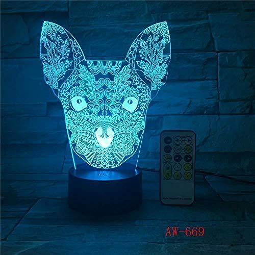 Mignon chat Kitty lampe 7 couleurs changeantes veilleuse atmosphère lumière 3D humeur tactile lampe décoration de la maison
