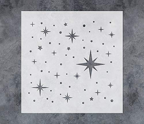 GSS Designs Twinkle Star Stencil (12x12Inch) - Reusable Mylar Template Stencils for Painting on Wall Wood Canvas Fabric Furniture (SL-104)