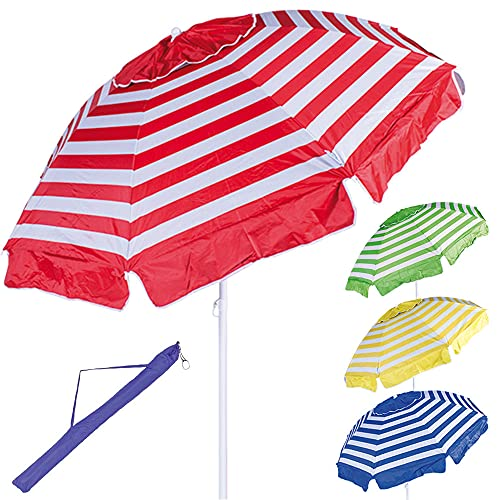 BAKAJI Ombrellone da Mare Spiaggia Giardino Diametro 200cm con Palo in Acciaio Reclinabile 8 Stecche Rivestimento in Tessuto Nylon Anti UV a Righe Sistema Air Vent 4 Colori Assortiti