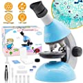 Elecfly Microscope, Kids Microscope 40X- 640X with Science Kits Beginners Microscope Includes 25 Slides for Student Children-Blue
