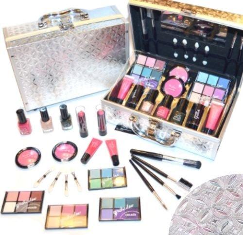 Schöne Kosmetik Make-up ALU Koffer mit Reliefmuster Cosmelux Schminkkoffer 42 tlg gefüllt(e941)