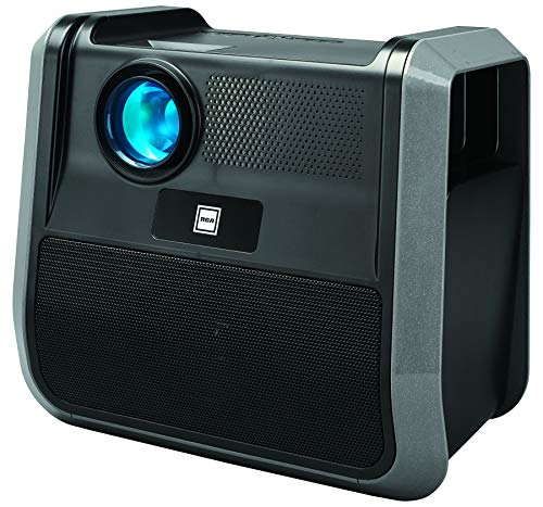 RCA - RPJ060 Portable Projector Home Theater Entertainment System - Outdoor, Built-in Handles and Speakers, Black, Graphite (RPJ060-BLACK/GRAPHITE)