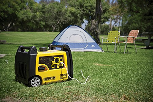 champion 3100 watts generator on a camp site