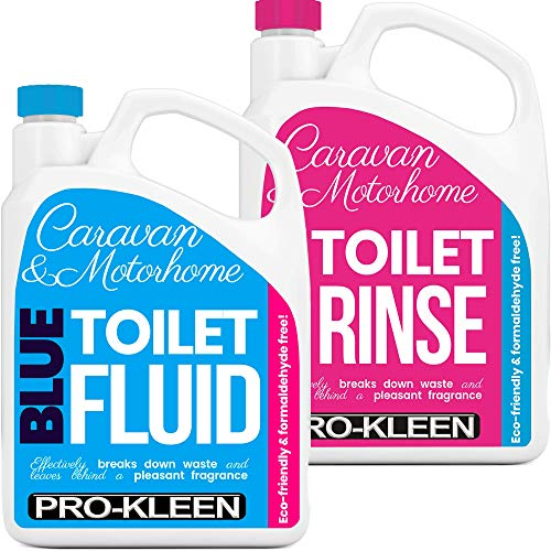 Pro-Kleen Caravan Toilet Chemical Blue 2L and Pink 2L Rinse Fluid Solution Cleaner for Caravan and Motorhomes - Eco-Friendly, Formaldehyde Free - Upto 20 Treatments Each