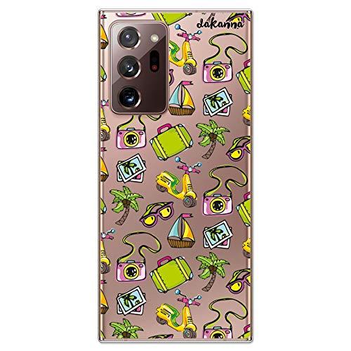 dakanna Funda para [ Samsung Galaxy Note 20 Ultra ] de Silicona Flexible, Dibujo Diseño [ Pattern Banner Verano con Scooter, Gafas, Barco y Palmera en la Playa ], Color [Fondo Transparente]
