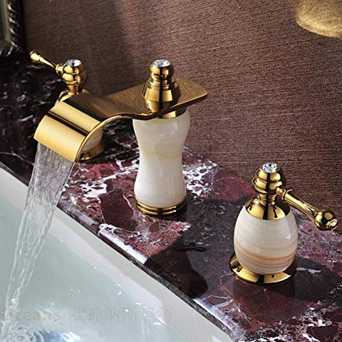 XUSHEN-HU Grifo de cocina de una sola manija de lavabo de baño de lujo de latón soild completo de cobre acabado dorado de mármol grifo de dos manijas tipo sentado y grifo de agua fría grifo de baño