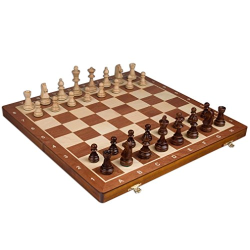 Wegiel Handmade European Professional Tournament Chess Set With Wood Case - Hand Carved Wood Chess Pieces & Storage Box To Store All The Piece