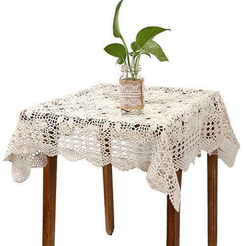 yazi Handmade Crochet Sofa Doily Cotton Lace Table Placemats Sofa Doilies, Square Beige Color 31.5inch