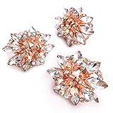 3PZAS Pinzas de Garra para el Pelo de Metal Pequeñas Tono Oro Rosáceo Pedreria Cristal para Mujeres Niñas