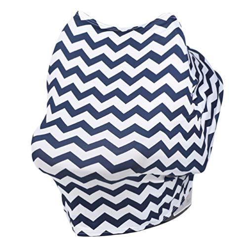 TOYANDONA Asiento de Coche para Bebé Cubre El Patrón de Onda de Seguridad Pañuelo Elástico para Bebé Cochecito Bufanda de Enfermería para Parabrisas Polvo de Sol a Prueba de Mosquitos (Azul Marino)