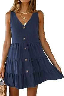 Halife Women's Button Front Dress Summer Sleeveless V-Neck Pleated Swing Dresses