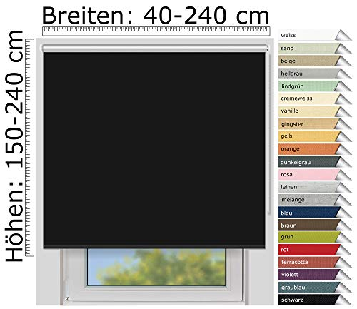 EFIXS Thermorollo Medium - 25 mm Welle - Farbe: schwarz (069) - Größe: 140 x 240 cm (Stoffbreite x Höhe) - Hitzeschutzrollo - Verdunklungsrollo