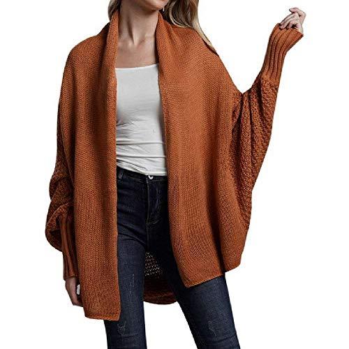 TAWXR - Cárdigan para mujer, suelto, manga larga, de murciélago, suéter de punto de gran tamaño, para otoño Rojo Rojo ladrillo Talla única