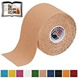 BB Sport 1 Rolle Kinesiologie Tape 5 m x 5,0 cm verschiedenen Farben E-Book Anwendungsbroschüre Elastisches Tape Set, Farbe:hautfarben