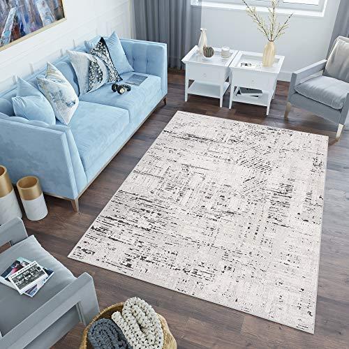 TAPISO Lotus Teppich Kurzflor Ecru Schwarz Creme Modern Design Wohnzimmer Schlafzimmer Loop Cut 3D Optik ÖKOTEX 120 x 170 cm